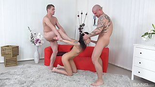 Horny brunette can't wait to enjoy amazing threesome approximately her lovers